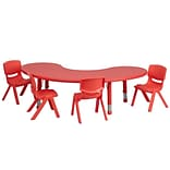 Flash Furniture 35W x 65L Half-Moon Plastic Activity Table Set W/4 School Stack Chairs
