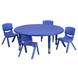 Flash Furniture 45(Dia.) Round Adjustable Plastic Activity Table Set W/4 School Stack Chairs