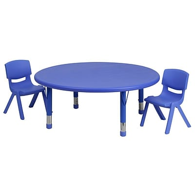 Flash Furniture 45 Round Adjustable Plastic Activity Table Set with 2 School Stack Chairs, Blue (YCX53RNDTBLBLR)