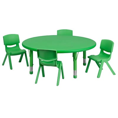 Flash Furniture 45 Round Adjustable Plastic Activity Table Set with 4 School Stack Chairs, Green (YCX53RNDTBLGNE)