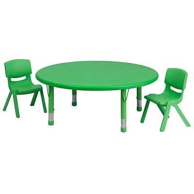 Flash Furniture 45 Round Adjustable Plastic Activity Table Set with 2 School Stack Chairs, Green (YCX53RNDTBLGNR)