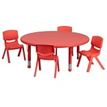 Flash Furniture 45 Round Adjustable Plastic Activity Table Set with 4 School Stack Chairs, Red (YC
