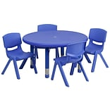 Flash Furniture 33(Dia.) Round Adjustable Plastic Activity Table Set W/4 School Stack Chairs