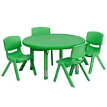 Flash Furniture 33 Round Adjustable Plastic Activity Table Set with 4 School Stack Chairs, Green (