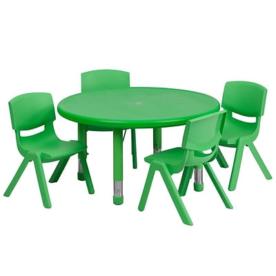 Flash Furniture 33 Round Adjustable Plastic Activity Table Set with 4 School Stack Chairs, Green (YCX73RNDTBLGNE)