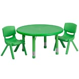 Flash Furniture 33(Dia.) Round Adjustable Plastic Activity Table Set W/2 School Stack Chairs