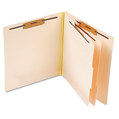 Esselte Pressboard End Tab Classification Folders, 2 Partitions/6 Fasteners, Manila, LETTER-size Holds 8 1/2 x 11, 10/Bx