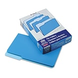 File Folders, Recycled, 2-Tone Blue, Legal Size, Top Tab, 1/3 Cut, 100/Box