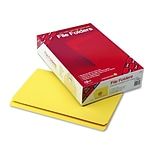 Smead® Reinforced Straight Cut Colored File Folders, Legal, Yellow, 100/Bx (17910)
