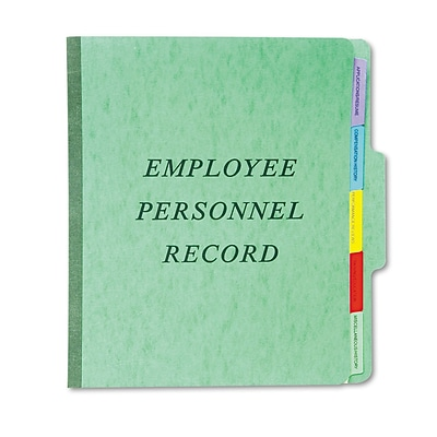 Esselte Pendaflex Top-Tab Classification Style Personnel Folders, Recycled, Green, 9 1/2 x 11 3/4
