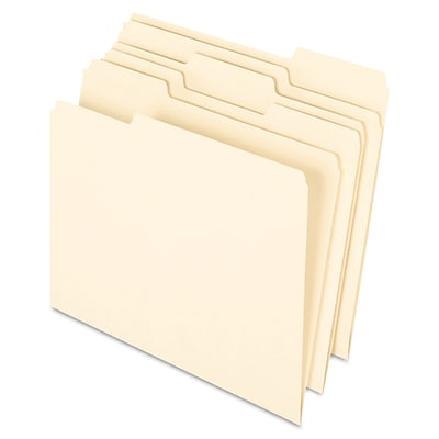 Pendaflex® Letter Recycled 1/3 Cut Earthwise Recycled File Folder, Manila, 100/Pack