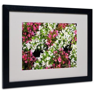 Kathie McCurdy Begonia Garden Matted Framed Art - 11x14 Inches - Wood Frame