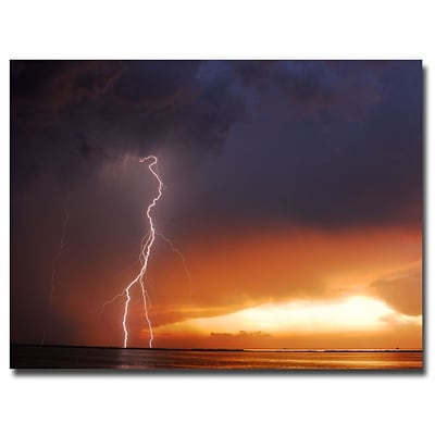 Trademark Fine Art Kurt Shaffer Lightning Sunset IV Canvas Art 24x32 Inches