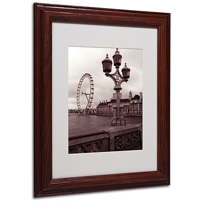 Kathy Yates London Eye 2 Matted Framed Art - 16x20 Inches - Wood Frame