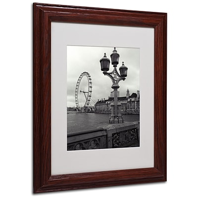 Kathy Yates London Eye Matted Framed Art - 16x20 Inches - Wood Frame