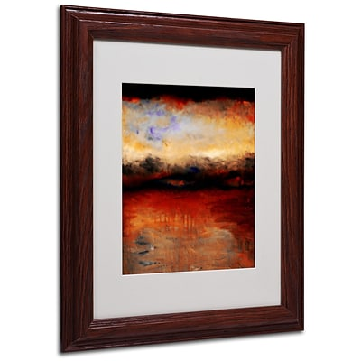 Michelle Calkins Red Skies at Night Matted Framed Art - 11x14 Inches - Wood Frame