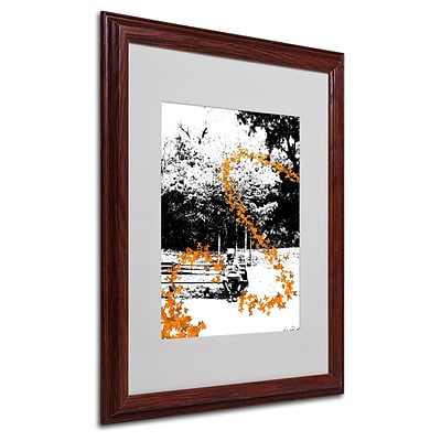 Miguel Paredes Orange Butterflies Matted Framed Art - 16x20 Inches - Wood Frame