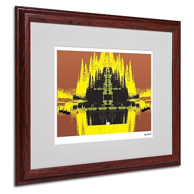 Miguel Paredes Yellow Trees Matted Framed Art - 16x20 Inches - Wood Frame