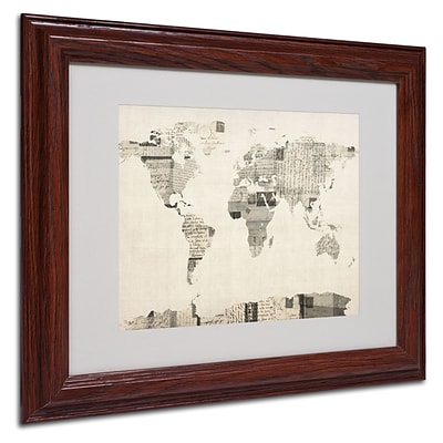Michael Tompsett Vintage Postcard World Map Matted Framed - 11x14 Inches - Wood Frame