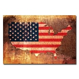 Trademark Fine Art Michael Tompsett US Flag Map Canvas Art 22x32 Inches