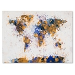 Trademark Fine Art Michael Tompsett Paint Splashes World Map 2 Canvas Art 30x47 Inches