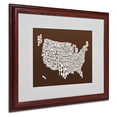Michael Tompsett CHOCOLATE-USA States Text Map Framed - 16x20 Inches - Wood Frame