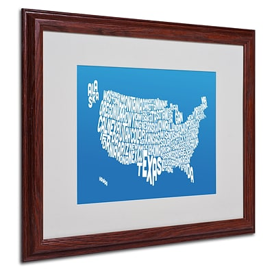 Michael Tompsett SUMMER-USA States Text Map Matted Framed - 16x20 Inches - Wood Frame