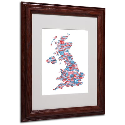 Michael Tompsett UK Cities Text Map 7 Matted Framed Art - 11x14 Inches - Wood Frame
