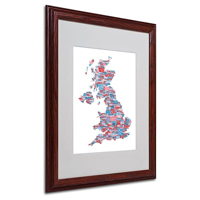 Michael Tompsett UK Cities Text Map 7 Matted Framed Art - 16x20 Inches - Wood Frame