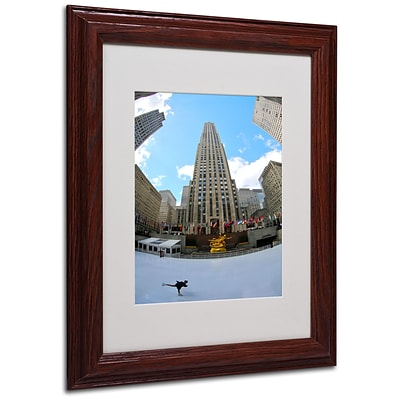 CATeyes Rockefeller Center Matted Framed Art - 11x14 Inches - Wood Frame