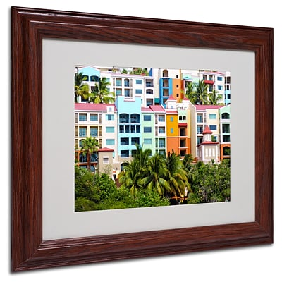 CATeyes Virgin Islands 2 Matted Framed Art - 11x14 Inches - Wood Frame