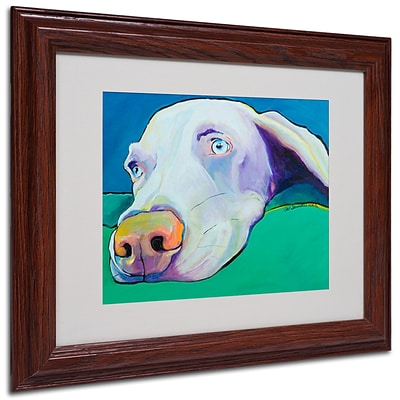 Pat Saunders-White Fritz Framed Matted Art - 11x14 Inches - Wood Frame