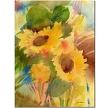Trademark Fine Art Sheila Golden Garden Sunflowrs Canvas Art 14x19 Inches
