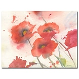 Trademark Fine Art Shelia Golden Swaying Red Poppies Canvas Art 35x47 Inches