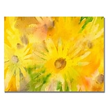 Trademark Fine Art Sheila Golden Yellow Wildflowers Canvas Art 18x24 Inches