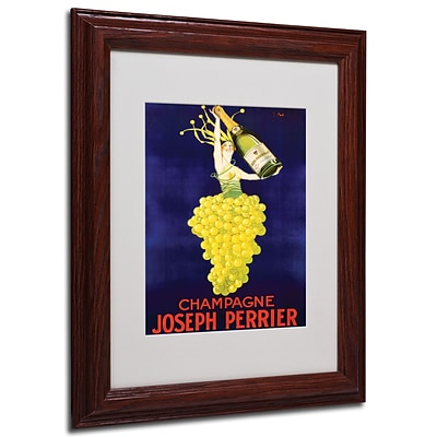 Champagne Joseph Perrier Framed Matted Art - 11x14 Inches - Wood Frame