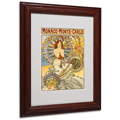 Alphonse Mucha Monaco-Monte Carlo Matted Framed Art - 11x14 Inches - Wood Frame