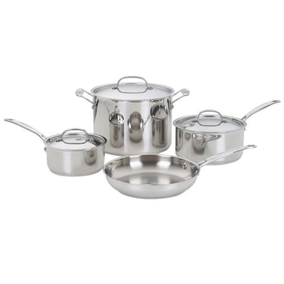 Cuisinart Chef's Classic Stainless Steel 7 Piece Cookware Set; Gray/silver
