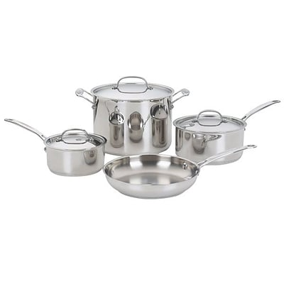 Cuisinart  Chefs Classic  Stainless Steel 7-Piece Cookware Set; Gray/Silver