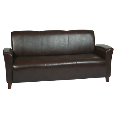 Office Star OSP Designs Eco Leather Sofa With Cherry Finish Legs, Mocha
