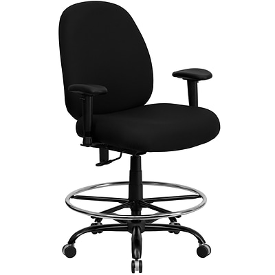 Belnick Hercules™ Series Big and Tall Drafting Stool with Arms and Extra Wide Seat,Black Fabric