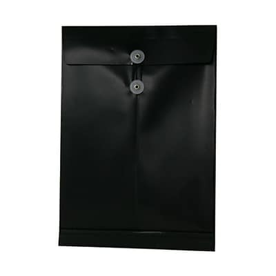 JAM Paper® Plastic Envelopes with Button and String Tie Closure, Legal Open End, 9.75 x 14.5, Black Poly, 12/pack (119B1BL)