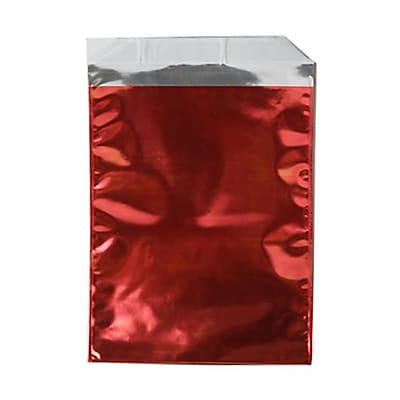 JAM Paper® Foil Envelopes with Self Adhesive Closure, 6 1/4 x 7 7/8, Open End, Red, 100/pack (01323272B)