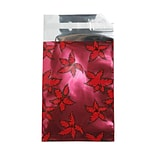 JAM Paper® Foil Envelopes with Self Adhesive Closure, 7 x 9.5, Open End, Christmas Red Holly, 25/Pac