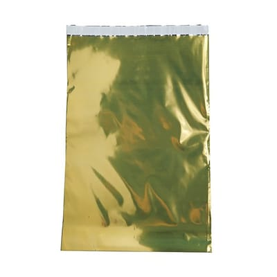 JAM Paper® Foil Envelopes with Self Adhesive Closure, 12 x 18, Open End, Gold, 25/pack (1323297)