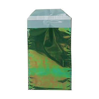 JAM Paper® Foil Envelopes with Self Adhesive Closure, 5.25 x 8, Open End, Green Metallic, 100/pack (01323270B)