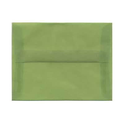JAM Paper® A2 Invitation Envelopes, 4 3/8 x 5 3/4, Leaf Green Translucent Vellum, 25/pack (PACV603)