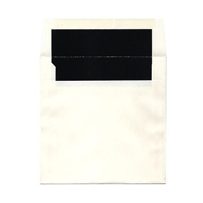 JAM Paper® 7.25 x 7.25 Glossy Lined Square Envelopes, White with Black Lining, 25/pack (5123111421)
