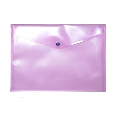 JAM Paper® Plastic Envelopes with Snap Closure, Letter Booklet, 9.75 x 13, Light Purple Poly, 12/pack (218S0LTPU)