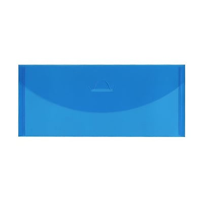 JAM Paper® #10 Plastic Envelopes with Tuck Flap Closure, 4 1/4 x 9 3/4, Blue Poly, 12/Pack (1541739)